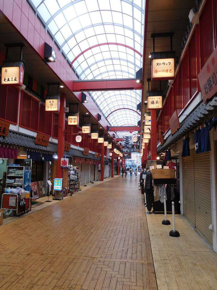 The indoor shopping street at Asaskua, this is parallel to the Nakamise-dōri street market