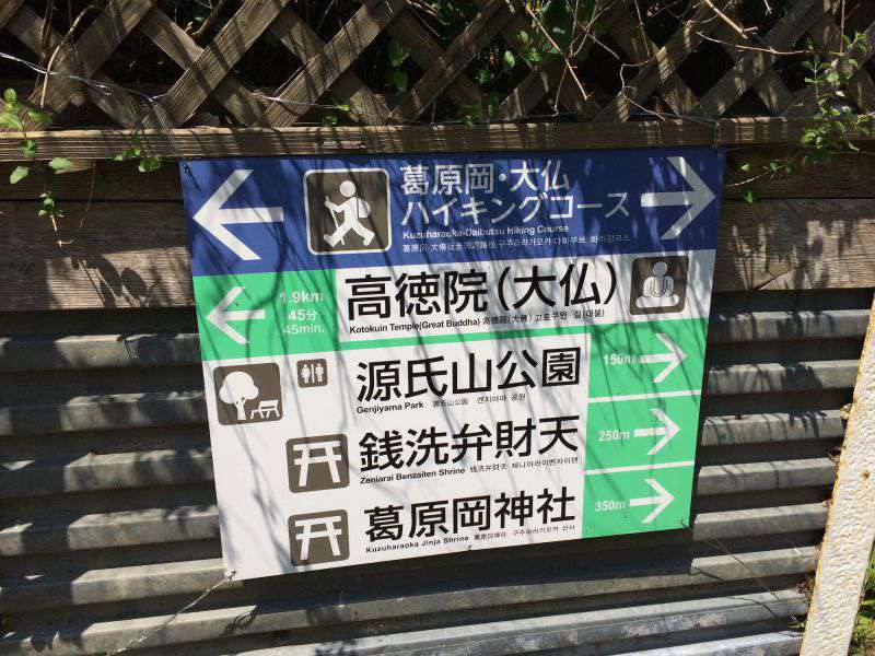 A signpost on the Daibutsu Hiking Course, a hiking trail over the hill to the Great Buddha of Kamakura