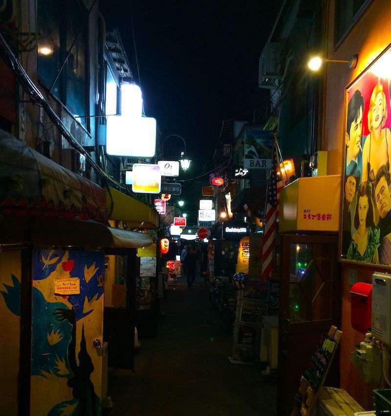 A typical Golden Gai alley with numerous tiny bars