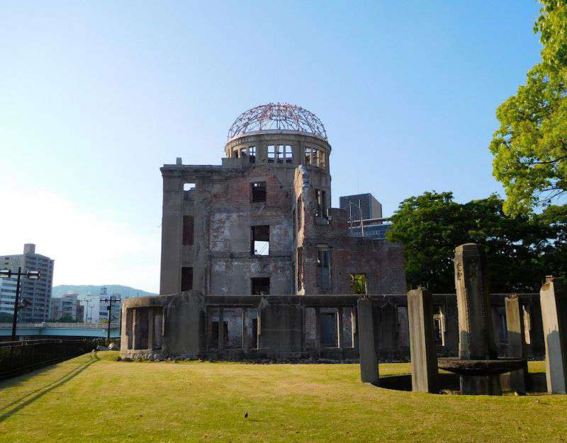 The Hiroshima Peace Memorial or Atomic Bomb Dome in the evening sunshine. A sombre reminder of the horrors of nuclear war.