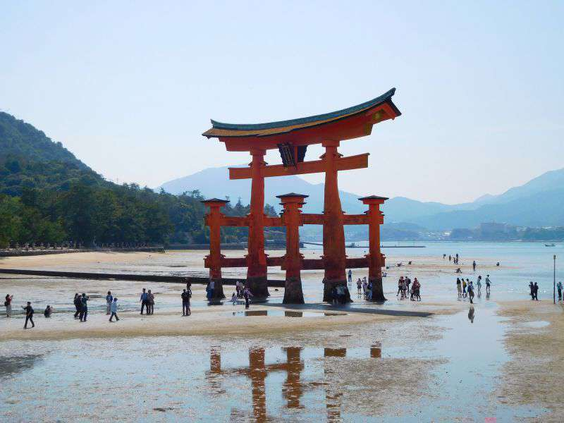 The Torii (Gate) at the Itsukushima Shrine. At low tide you can walk right up to it