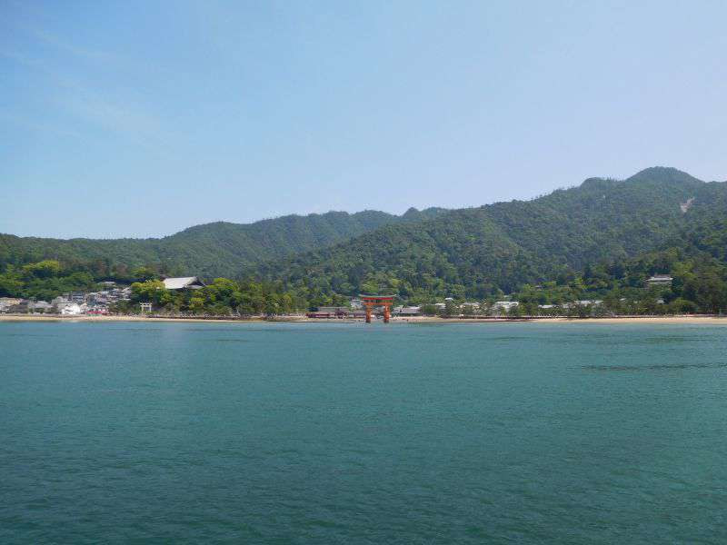 The view of Miyajima and the Itsukushima Shrine from the ferry