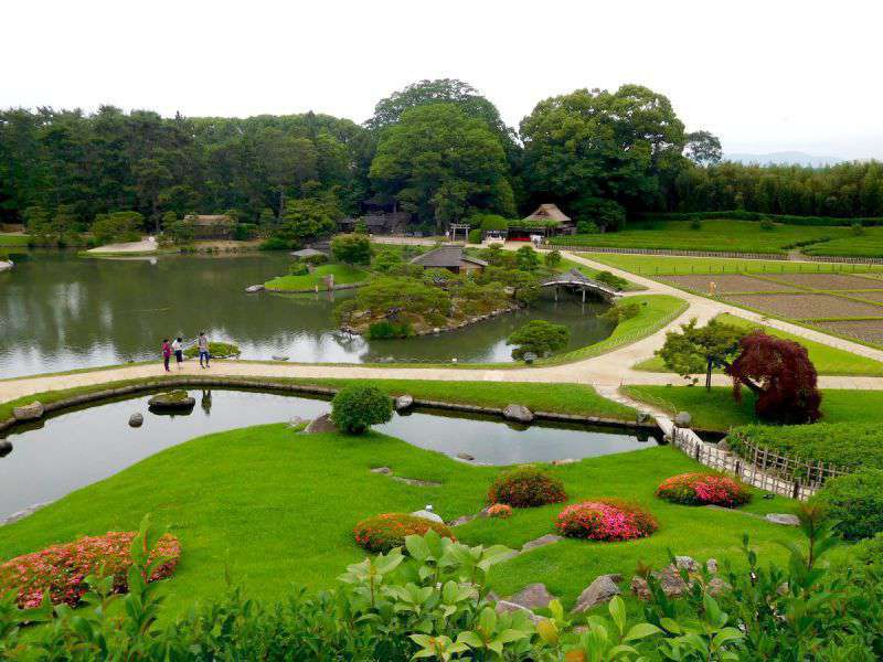 Photograph of Okayama Koraku-en Japanese Gardens, one the three Great Gardens of Japan. Looking down from the hill in the middle of the park.